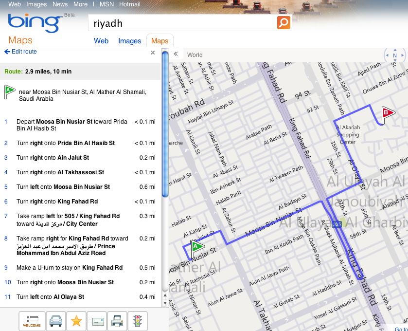 bing maps directions